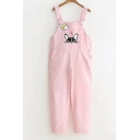 Cute Dog Drumstick Print Straps Sleeveless Overall Jumpsuit