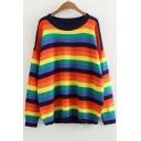 Rainbow Striped Round Neck Long Sleeve Loose Sweater