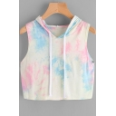 Tie Dye Printed Sleeveless Cropped Hooded Tee