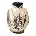 Skull Horse Printed Long Sleeve Leisure Hoodie for Men