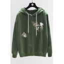 Letter Embroidered Floral Print Long Sleeve Hoodie