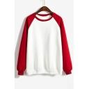 Basic Color Block Raglan Sleeves Round Neck Pullover Sweatshirt