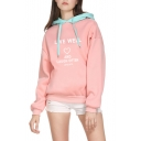 Contrast Hood LIVE WELL Letter Heart Print Long Sleeve Hoodie