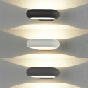 Outdoor Wall Mounted Lighting Waterproof Rust-Proof Die Cast LED Wall Sconce 7W Oval LED Up/Down Wall Light in Matte Black/Gray/White Suitable for Porch Foyer Backyard Pathway