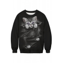 3D Scratch Cat Print Round Neck Long Sleeve Sweatshirt