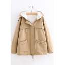Plain Long Sleeve Concealed Zip Placket Plush Lined Hooded Jacket