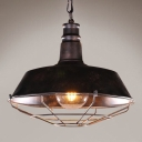 Industrial Barn Pendant Light in Retro Style with 18.11''W Metal Cage, Rust
