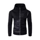 Leather Patchwork Long Sleeve Zip Placket Slim Hoodie