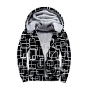 3D Geometric All Over Print Long Sleeve Zip Up Plush Lined Hoodie