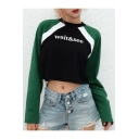 WAIT Letter Print Color Block Round Neck Long Sleeve Crop T-Shirt