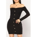 Button Front Off The Shoulder Long Sleeve Knit Mini Bodycon Dress