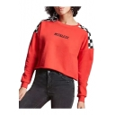 Contrast Plaid Letter Printed Round Neck Long Sleeve Crop Sweatshirt