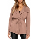 Lapel Collar Long Sleeve Tie Waist Plain Leisure Cardigan
