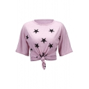 Soft Star Printed Round Neck Short Sleeve Leisure T-Shirt