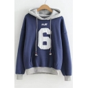 Number Letter Applique Color Block Long Sleeve Hoodie