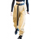 High Waist Plain Elastic Cuffs Cargo Pants with Belt