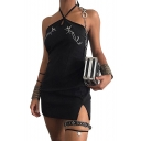 Bird Embroidered Halter Sleeveless Keyhole Front Mini Bodycon Dress