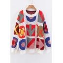 Arrow Geometric Jacquard Round Neck Long Sleeve Sweater