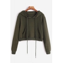 Chic Basic Long Sleeve Plain Cropped Hoodie