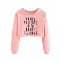 Casual Letter Pattern Cropped Long Sleeve Hoodie