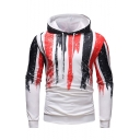 Digital Striped Printed Long Sleeve Casual Menswear Hoodie