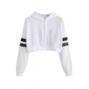 Sports Casual Contrast Striped Long Sleeve Cropped Hoodie