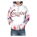 3D Letter Floral Printed Unisex Long Sleeve Oversized Hoodie