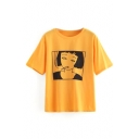 Cartoon Character Printed Round Neck Short Sleeve T-Shirt