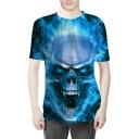 Fire Skull Print Round Neck Short Sleeve T-Shirt