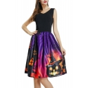 V Neck Sleeveless Contrast Pumpkin Castle Print Midi A-Line Dress