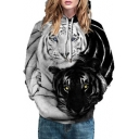 Black and White Tiger Print Long Sleeve Casual Hoodie for Couple