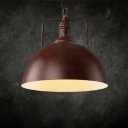 Iron Style One Light Rust Finish Dome Shade Adjustable Chain Metal Ceiling Pendant Light