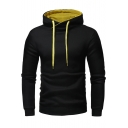 Basic Plain Drawstring Hood Long Sleeve Slim Hoodie for Men
