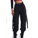 High Waist Straps Embellished Plain Elastic Cuff Cargo Pants