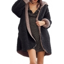 Winter Collection Warm Reversible Long Sleeve Hooded Plush Coat