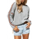 Contrast Striped Long Sleeve Round Neck Leisure Sweater
