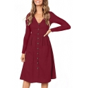 Button Front V Neck Long Sleeve Plain Midi A-Line Dress with Pockets
