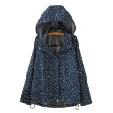Leisure Star Printed Concealed Zip Placket Long Sleeve Loose Hooded Jacket