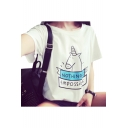 Letter Cartoon Unicorn Printed Short Sleeve Round Neck Graphic T-Shirt