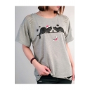 Cat Paw Printed Cut Out Detail Round Neck Short Sleeve Tee