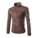 Stand Collar Long Sleeve Zip Closure Slim Plain Leather Jacket