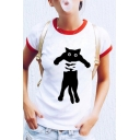 Hand Cat Printed Contrast Trim Round Neck Short Sleeve T-Shirt