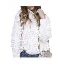 Pom Pom Embellished Round Neck Long Sleeve Plain Sweater