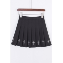Cross Embroidered High Waist Chic Mini Pleated Skirt