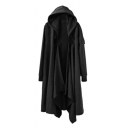 Open Front Plain Long Sleeve Asymmetric Hem Trendy Hooded Coat