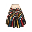 Colorful Cross Striped Printed High Waist Retro Midi Flare Skirt