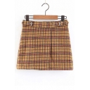 Buckle Straps Waist Plaid Printed Split Front Mini A-Line Skirt