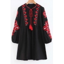 ohemia Style Floral Embroidered Round Neck Long Sleeve Mini Smock Dress