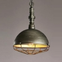Industrial Style Aged Bronze Finish Wire Caged Hanging Light with 10.24