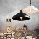 14.96 Inch Wide One Bulb Dome Shade Pendant Lamp in Textured Black/White Finish Burnished Brass Lamp Socket